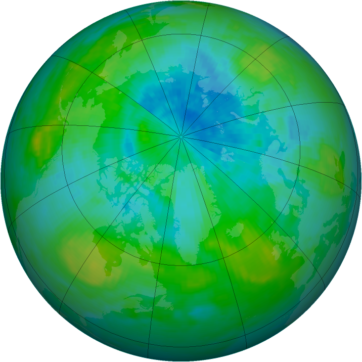 Arctic ozone map for 28 August 1988